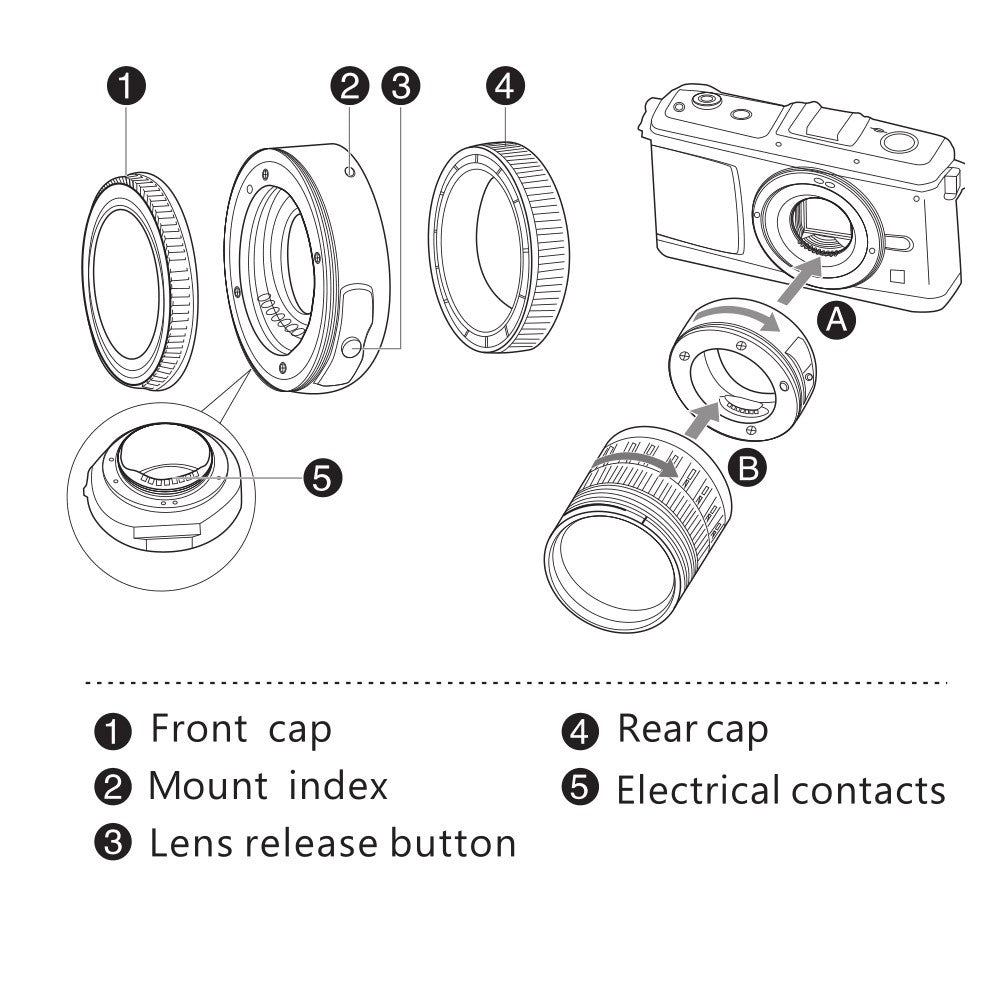 Go2Funlive Viltrox Jy-43F Af Focus Autofocus Adapter Ring Metal Mount For 4/3 Lens To Micro M4/3 Mount Camera For Olympus E-Pl1 Pl2 Pl3 E-P1 Panasonic G3 Dslr Camera