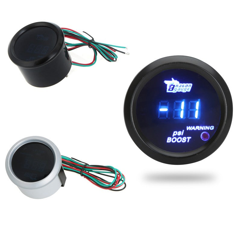 Go2Funlive Digital Turbo Boost Gauge Meter With Sensor For Auto Car 52Mm 2In Lcd -14~29 Psi Warning Light Black