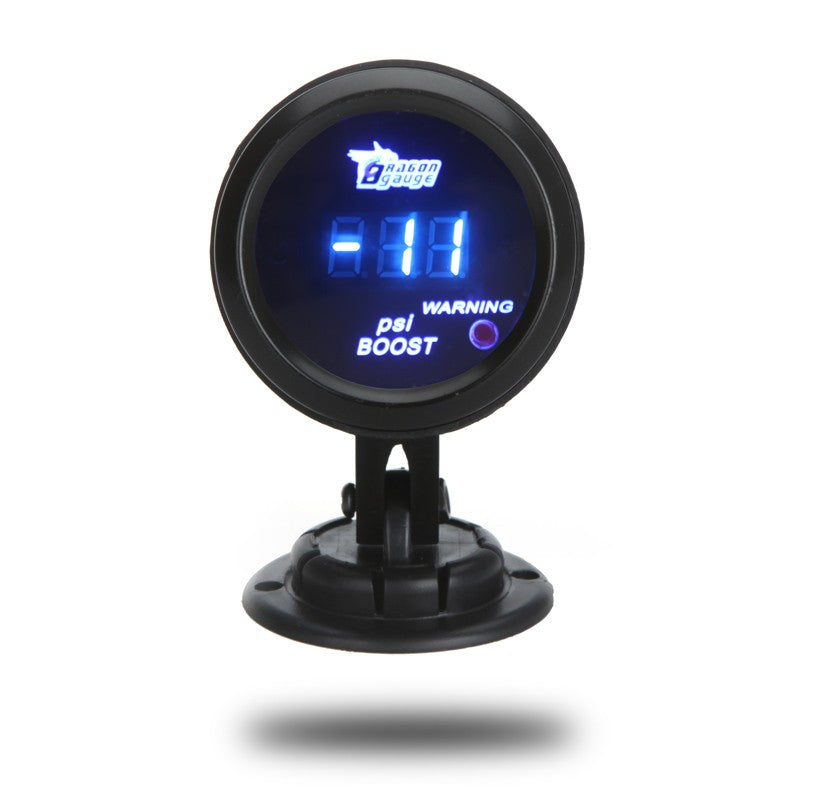 Digital Turbo Boost Gauge Meter with Sensor for Auto Car 52mm 2in LCD -14~29 PSI Warning Light Black
