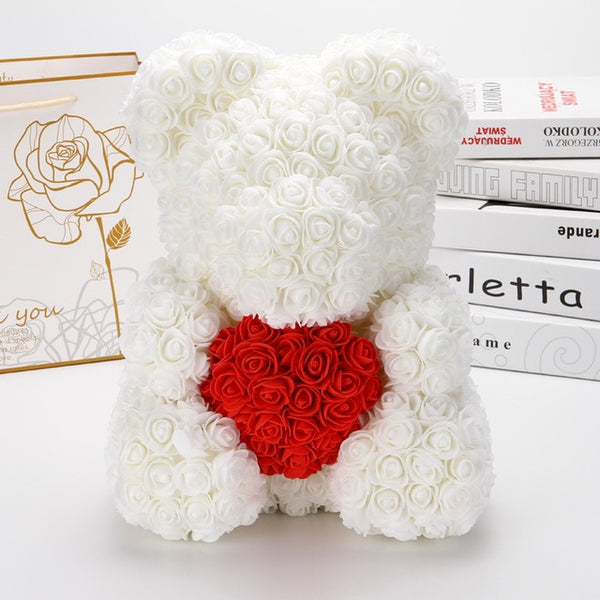 Large Rose Bear with Heart - The Rose Bear Factory