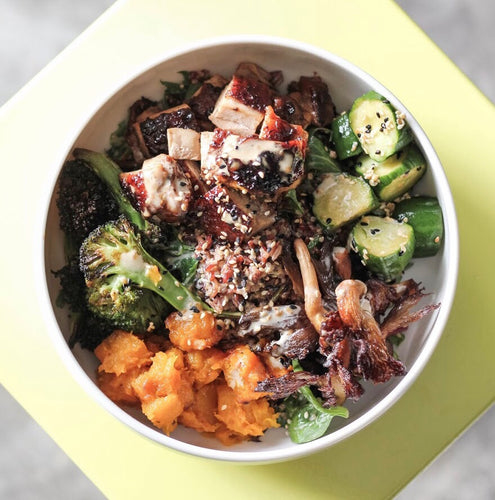 brawn & brains coffee, Hearty Grain Bowl with Long Grain Rice, Quinoa, Roasted Broccoli, Pumpkin, Mushrooms with Japanese Style Silken Tofu / Teriyaki Chicken