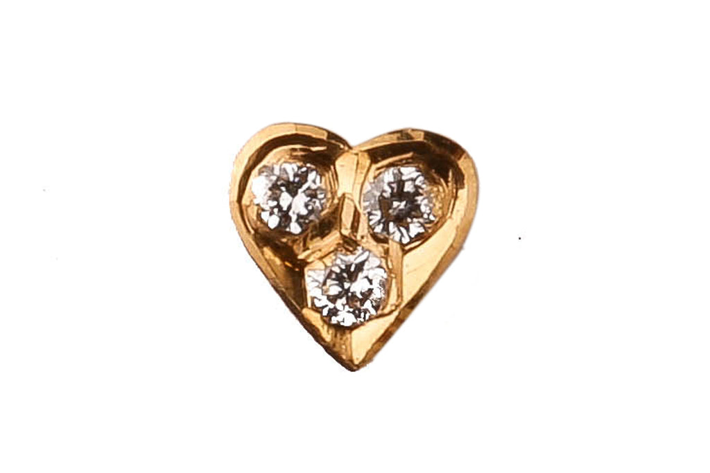 Heart Shaped Three Stone Diamond Nosepin