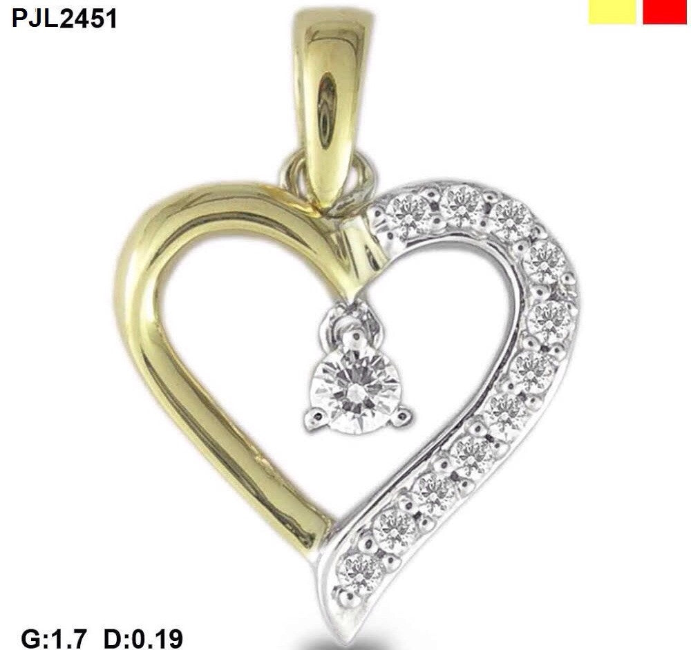 Delicate Heart Shaped Light Weight Diamond Pendant