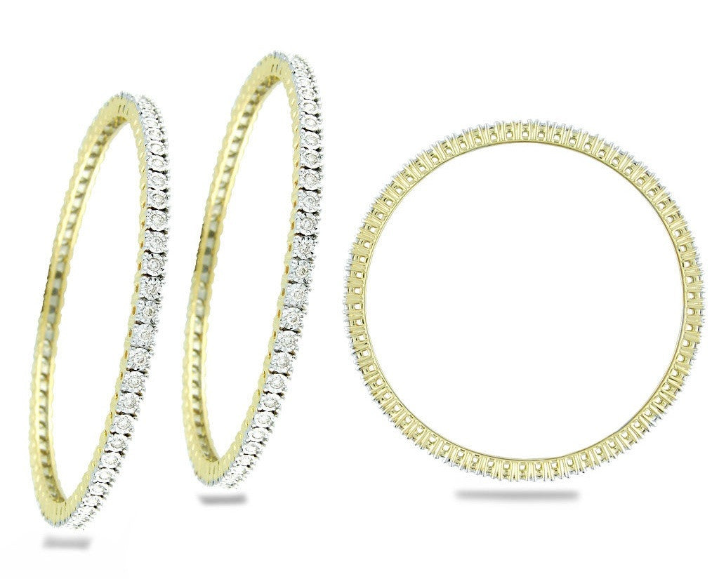 Perfect Circular Stone Light Weight Diamond Bangles
