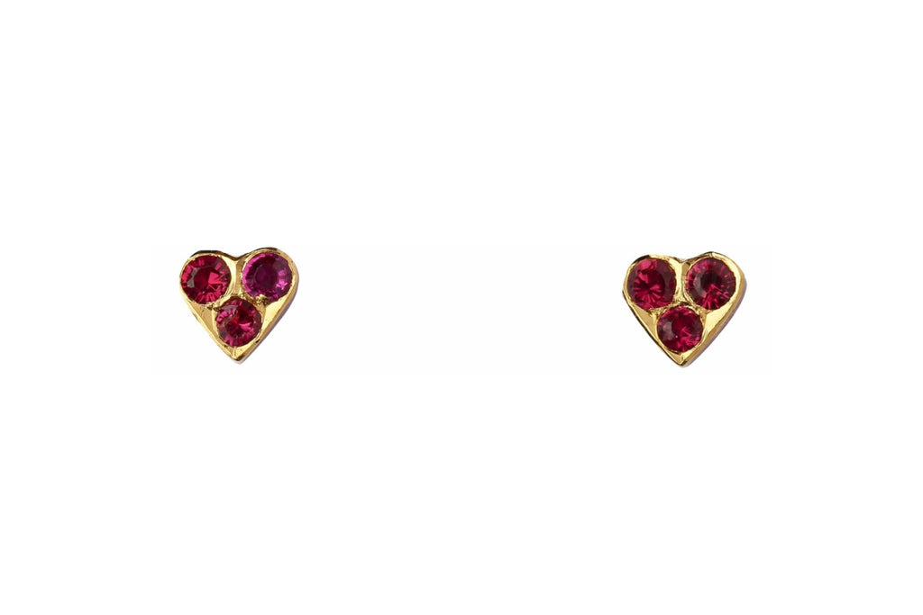Red Three Stone Heart Gold Studs