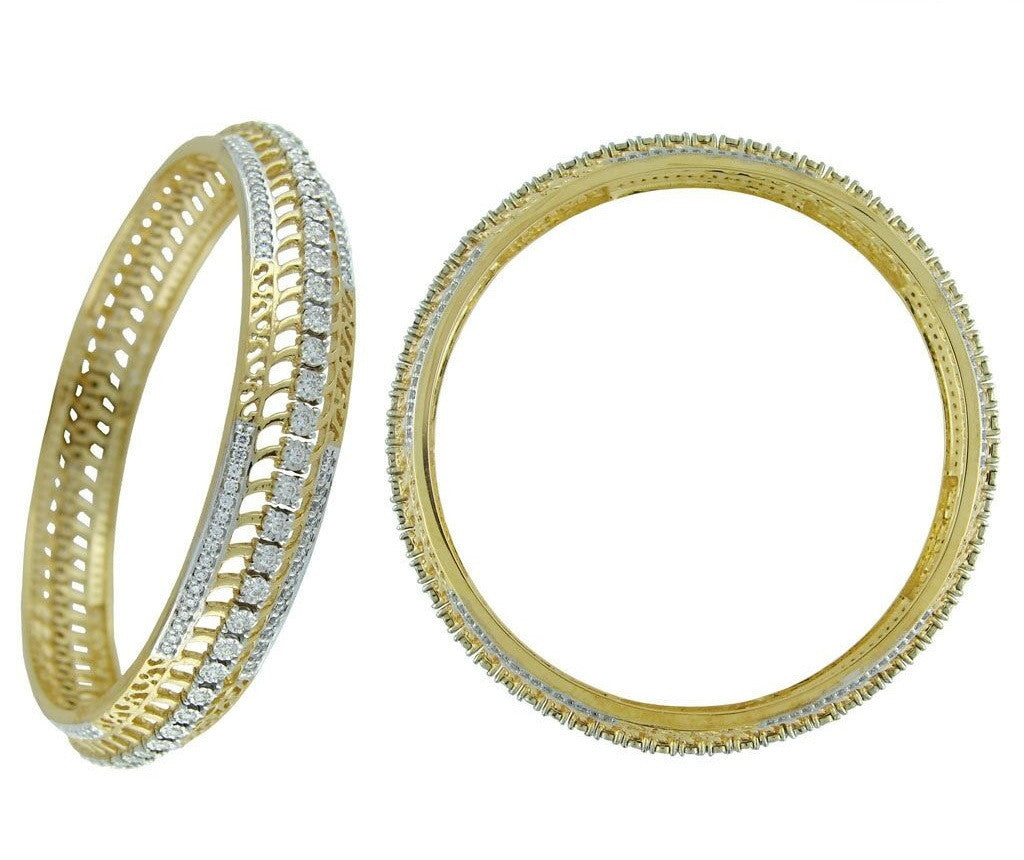 Double Design Light Weight Diamond Bangles
