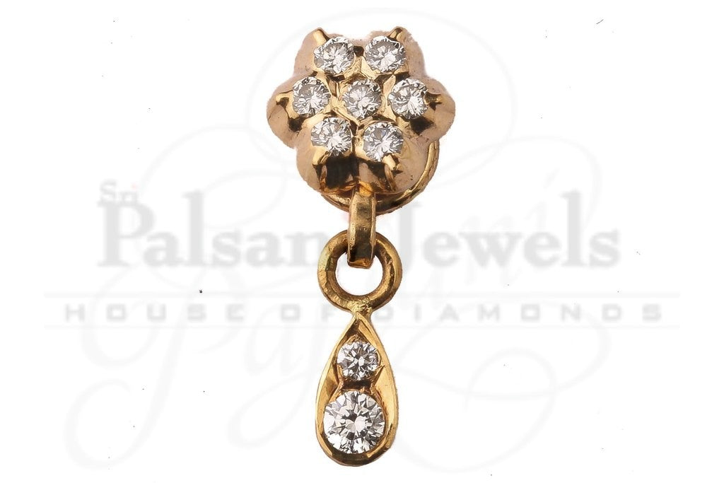 Floral Diamond Nose Pin with Drop