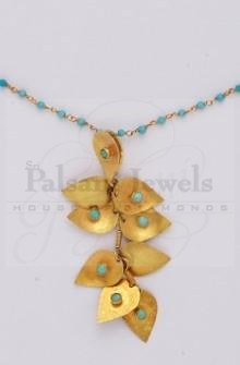 Multi Leaves Blue Beaten Gold Pendant