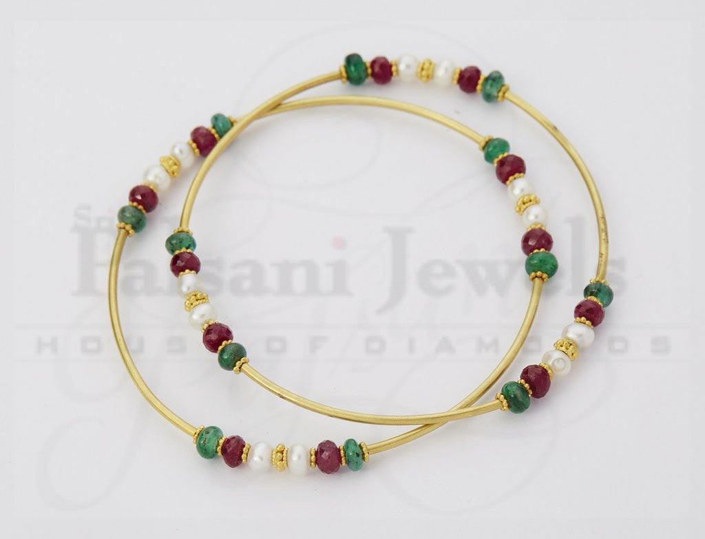 Multi Pearl Beaten Gold Bangles