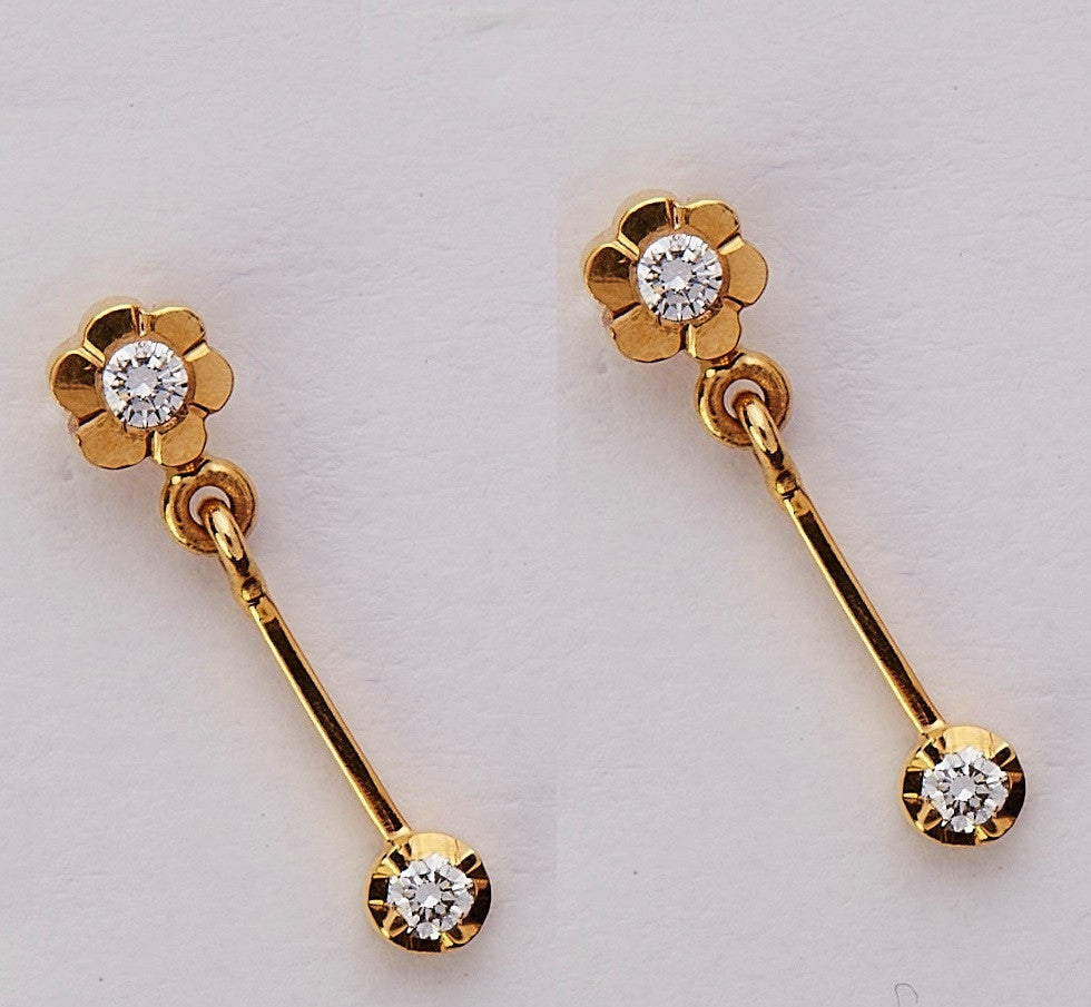 Dangling Drop Diamond Earrings