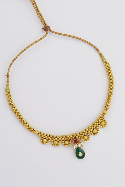 multi style full dual tone necklace oxidized jewellery set at antique designer beaded gold