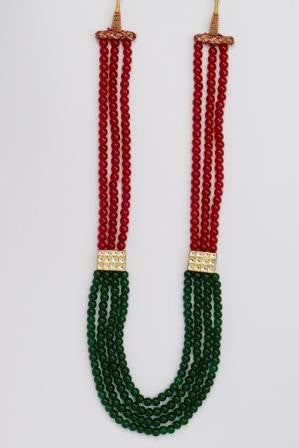 Classy Red & Green Mala with Kundan Brouch