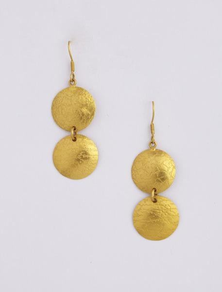 Double Circle Beaten Gold Earrings