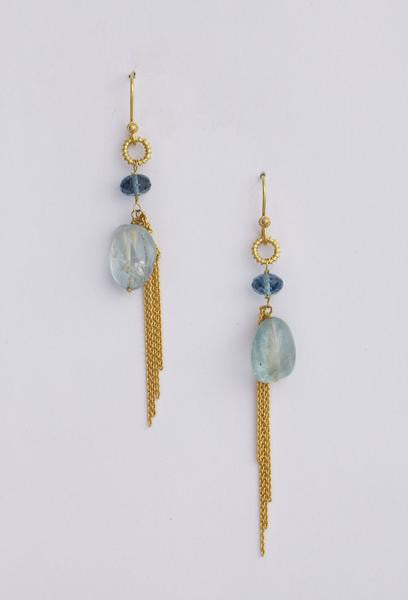 Serene Blue Beaten Gold Earrings