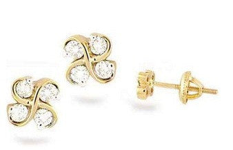 Double Wave Light Weight Diamond Earrings