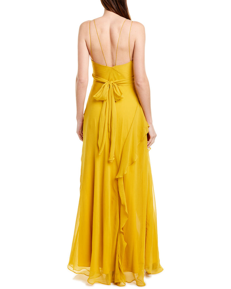 Nicholas Tie-Front Silk Maxi Dress
