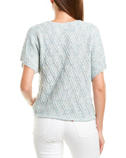 Lilla P Split Neck Linen-Blend Sweater