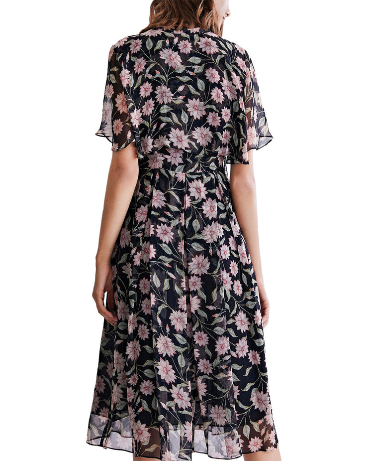POKWAI Silk Midi Dress