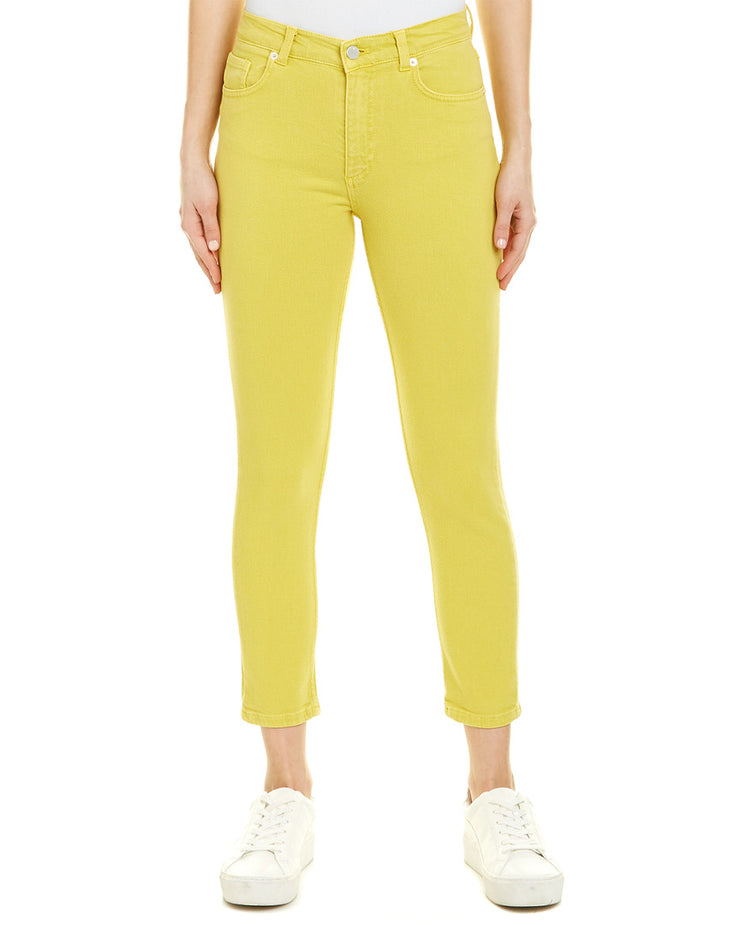 French Connection Dark Citron High-Rise Slim Leg