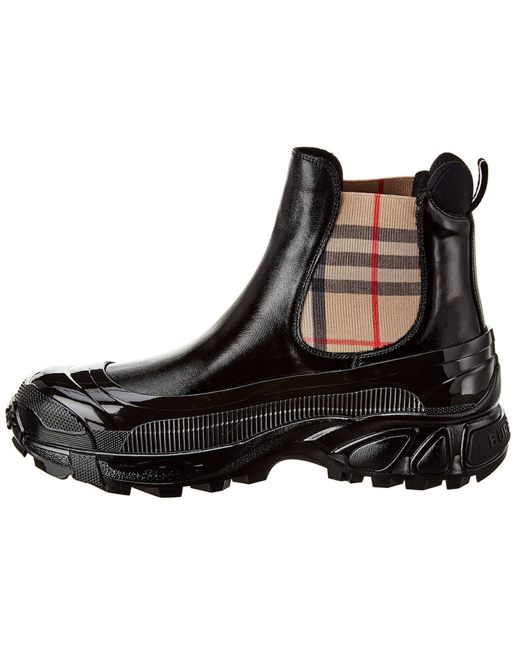 Burberry Vintage Check Detail Coated Canvas Chelsea Boot