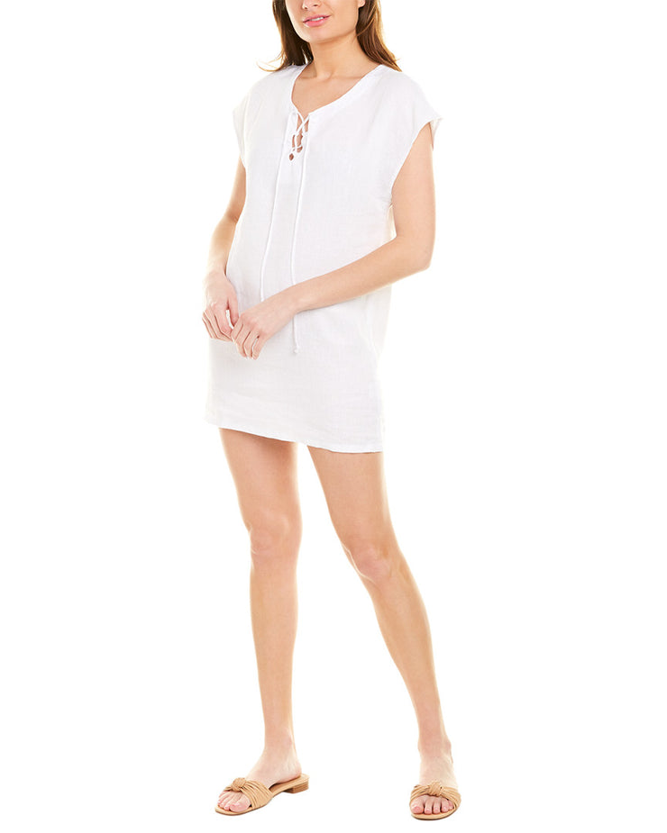 Krisa Lace-Up Linen Shift Dress