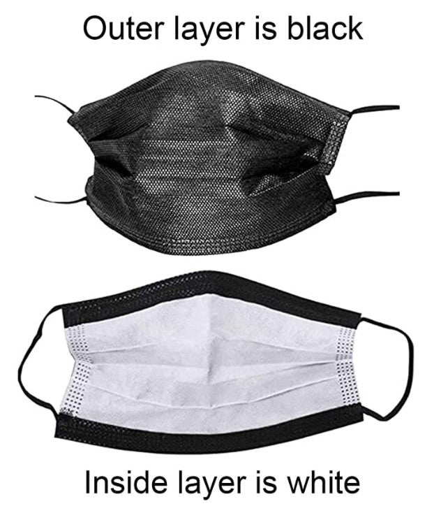Disposable 3ply Face Masks - Black