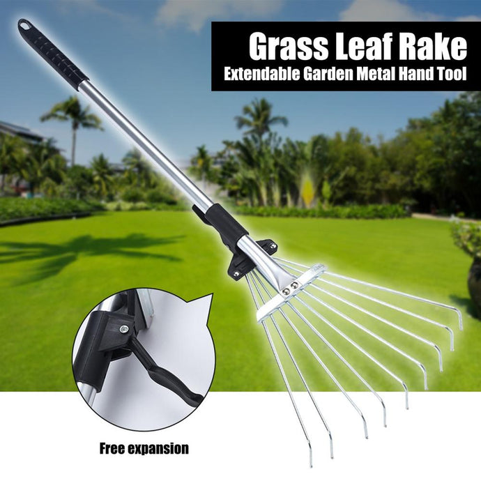 1PC Rake Metal Garden Leaf Rake Telescopic Rake Garden Grass Leaf Rake Extendable Garden Metal Hand Tool Black Cleaning Tool