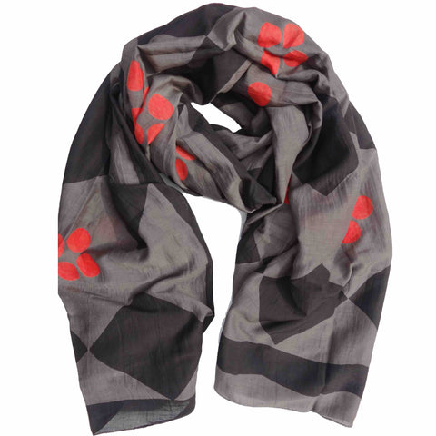 Diamond Tile Block Printed Scarf in Slate