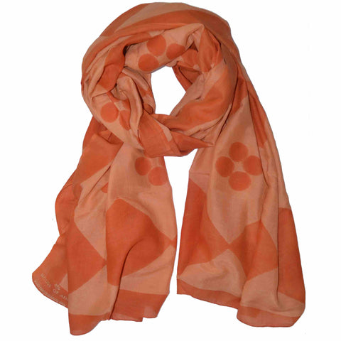 Diamond Tile Block Printed Scarf in Copper