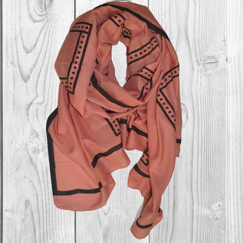 Dots in Square Block Printed Scarf in Peach