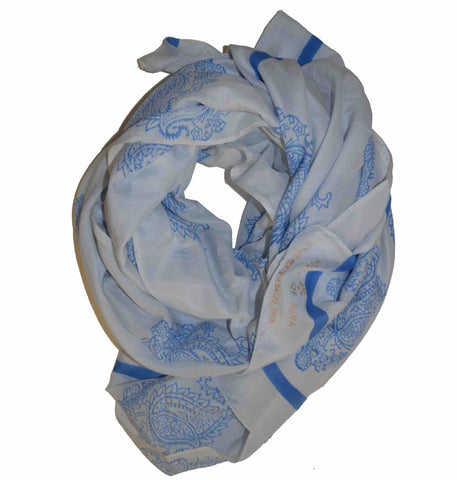 Earth Flowers in Blue Block Printed Scarf