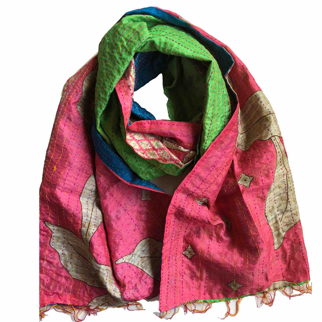 Flower Garden Kantha Scarf in Pink and Green