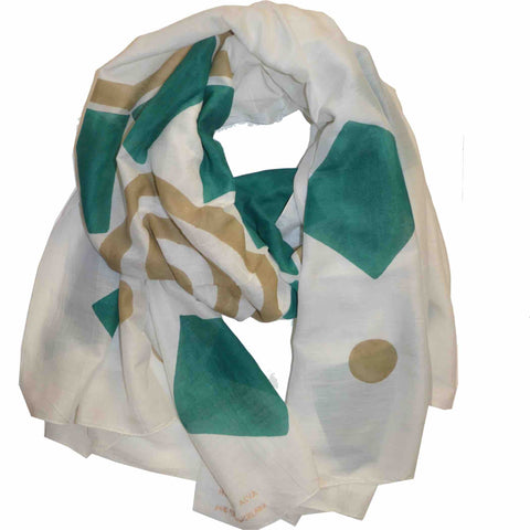Flower Petals Block Printed Scarf in Turquoise