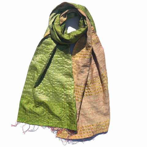Green Fields Kantha Scarf