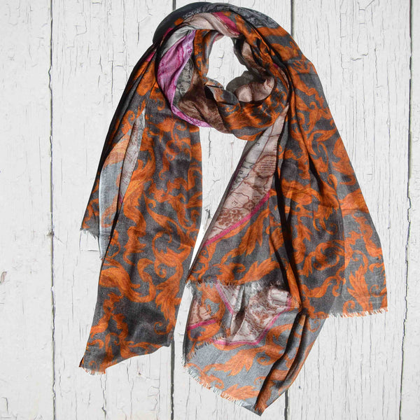 Cashmere Floral World Map Scarf