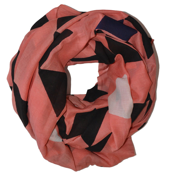 Two Worlds Block Printed Scarf in Peach