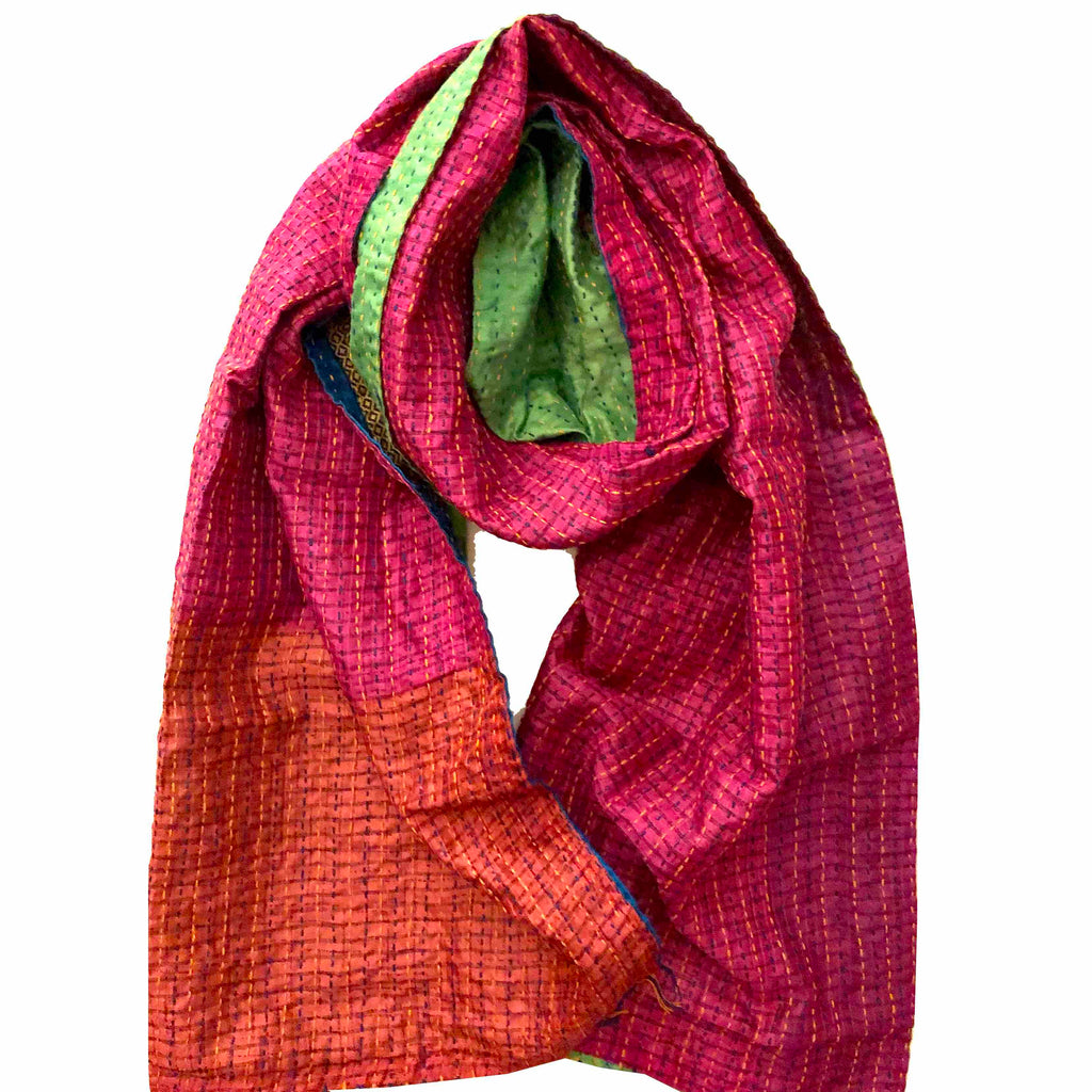Neon With Happiness Kantha Scarf in Green and Pink