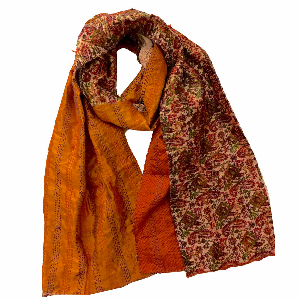 Orange Dancer Kantha Scarf