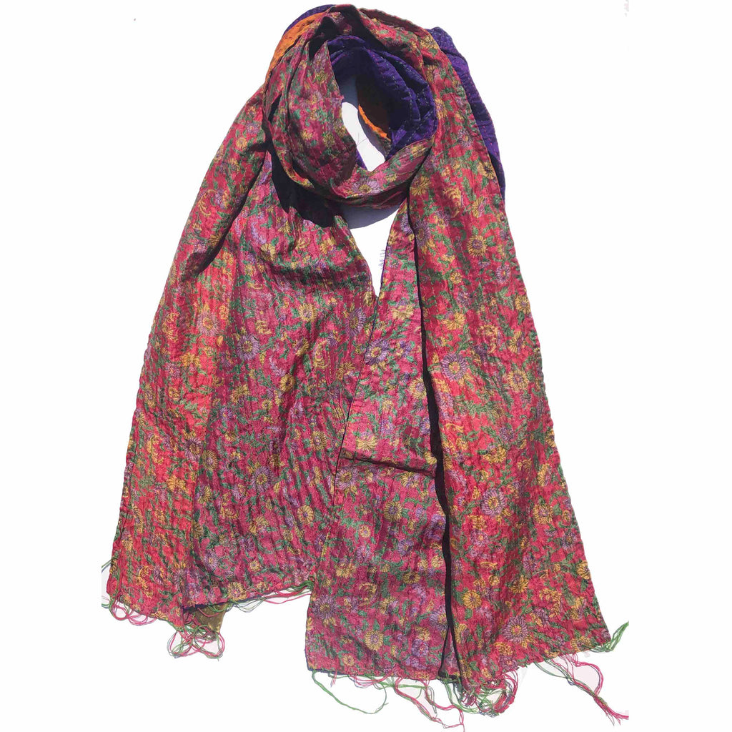 Pink Forest Kantha Scarf