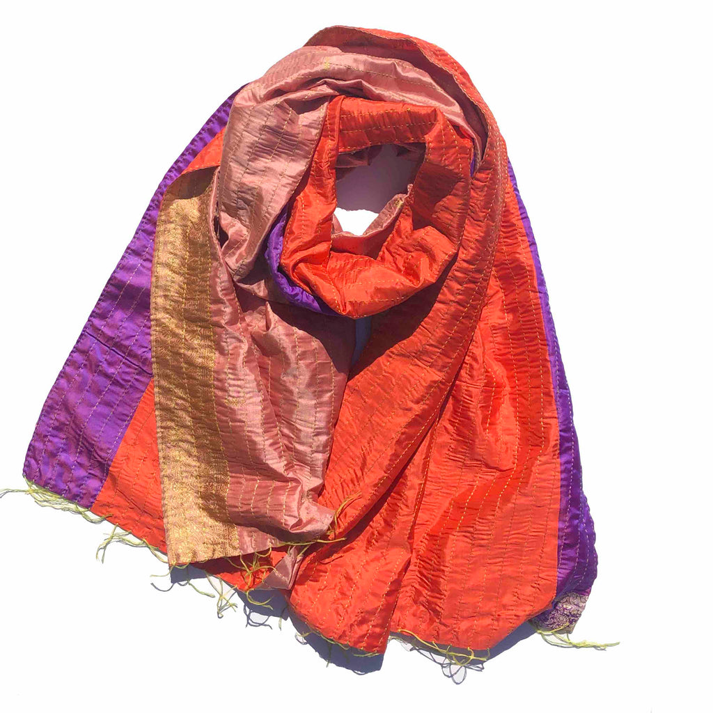 Coral Purple Glamour Kantha Scarf