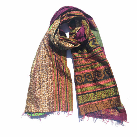 Purple Green Forest Kantha Scarf