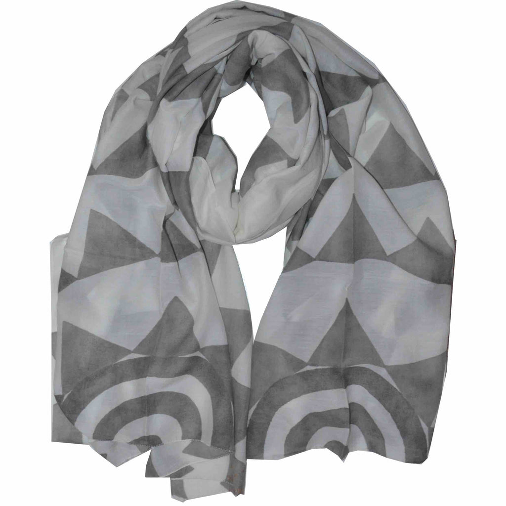 Two Worlds Block Printed Scarf in Grayscale