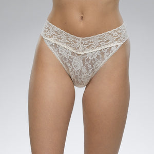 Signature Lace Original Rise Thong- Ivory