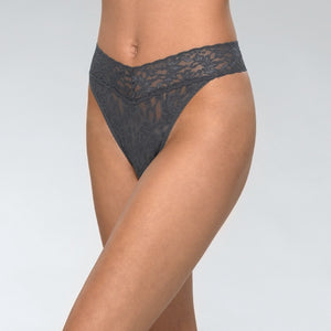 Signature Lace Original Rise Thong- Granite
