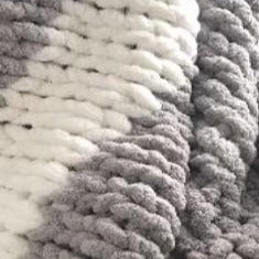 Chenille Blanket - Grey/White Stripe