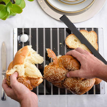 Load image into Gallery viewer, Challah Board Striped - Black