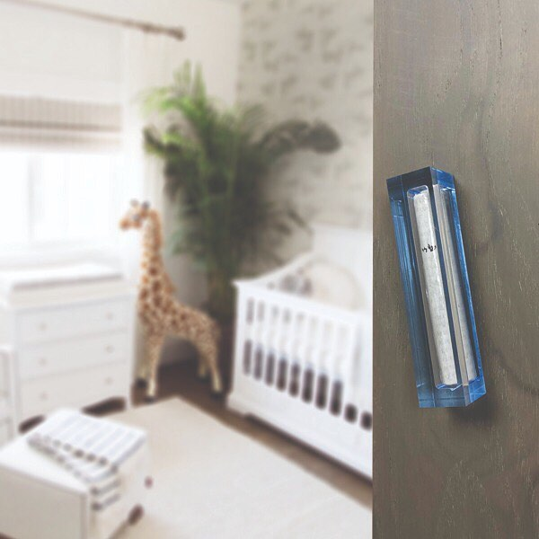 Small Mezuzah - Baby Blue