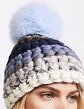 Load image into Gallery viewer, Beanie Stripe - old blue beanie stripe + baby blue xl pom