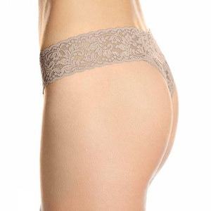 Signature Lace Original Rise Thong- Taupe