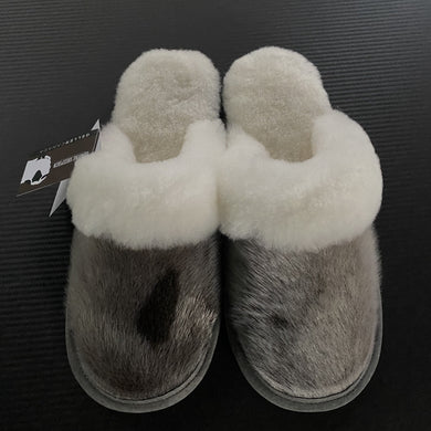 Ladies Sheepskin w/Seal Trim Slip Ons- these slippers You have to size up so if you are a 5 buy a 6 and if you are a 6 buy a 7 etc...